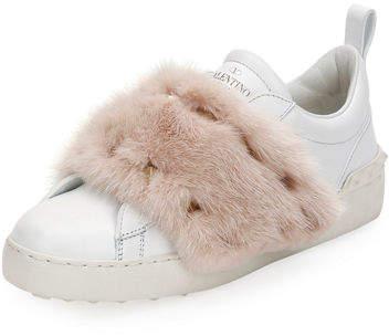 Valentino Garavani Rockstud Mink Fur Sneaker