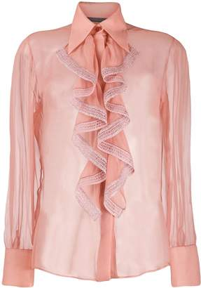 Alberta Ferretti ruffled neck blouse