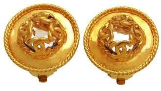 Chanel CC Logo Gold Tone Metal & Mirror Round Earrings