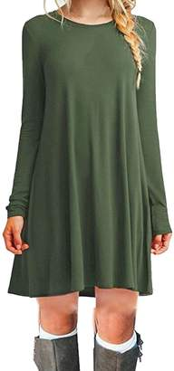 Pim Sexyshine Women's Long Sleeve Scoop Neck Casual Loose Swing Basic Tunic T-Shirt Dress(ZQ,L)