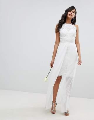 Lipsy Bridal Midi Pencil Dress with Detachable Chiffon Maxi Skirt