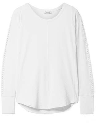 L'Etoile Sport - Pointelle-trimmed Stretch-jacquard Top - White