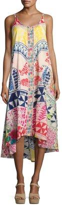 Johnny Was Love Sleeveless Cotton Asymmetrical Dress, Multi $265 thestylecure.com