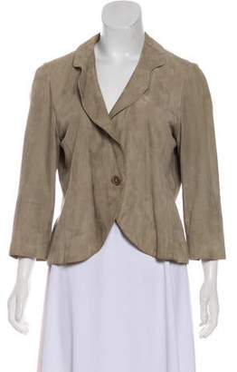 Max Mara Leather Button-Up Jacket