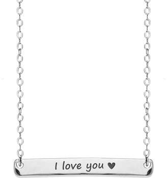 "John Greed Silver ID Necklace Engraved with ""I love you with lovehearts"""