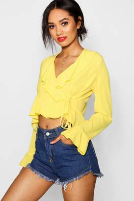 boohoo Petite April Ruffle Detail Wrap Blouse