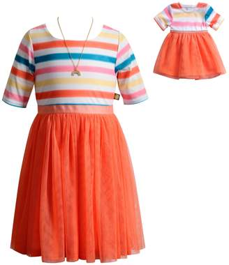 Dollie & Me Girls 4-14 Striped Dress with Necklace Set