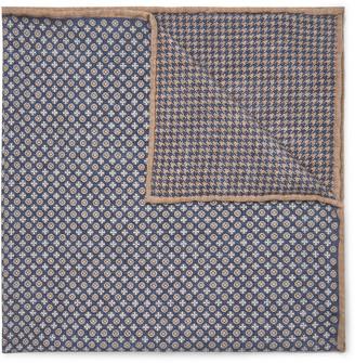 Brunello Cucinelli Printed Silk Pocket Square - Men - Blue