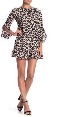 Eliza J Leopard Dropped Waist Dress (Petite)