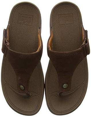 FitFlop Men's TRAKK II - Nubuck Flip Flops, (Chocolate Brown 167), 12 (46 EU)