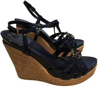 Christian Dior Navy Patent leather Sandals
