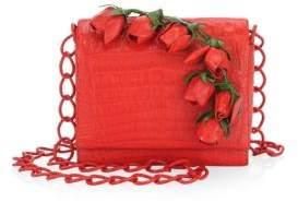 Nancy Gonzalez Floral Applique Shoulder Bag