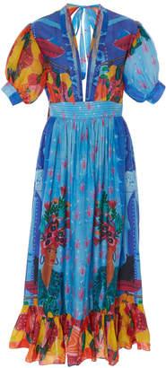 Carolina K. Greta Printed Cotton-Blend Midi Dress