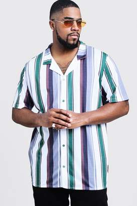 boohoo Big And Tall Short Sleeve Revere Jersey Shirt