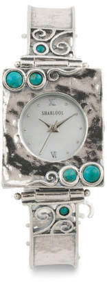 Women's Made In Israel Sterling Silver 20mm Turquoise Watch