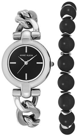 Anne KleinAnne Klein Inspirational Natural Stone Analog Watch & Onyx Bracelet Set