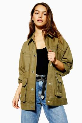 Topshop Womens Petite Oversized Shacket - Khaki