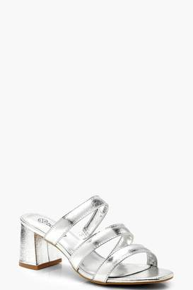 boohoo Extra Wide Fit Multi Strap Low Block Mules