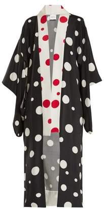 Racil - Mameha Dot Print Silk Cady Kimono Jacket - Womens - Black White