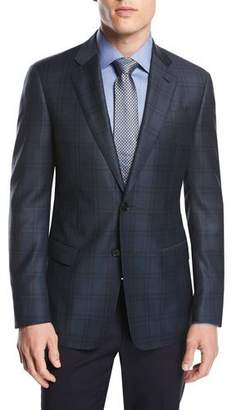 Giorgio Armani Soft Model Plaid Two-Button Sport Coat, Teal/Green/Blue