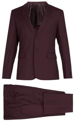 Prada Single Breasted Wool Suit - Mens - Burgundy