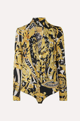 Versace Printed Crepe Bodysuit - Yellow