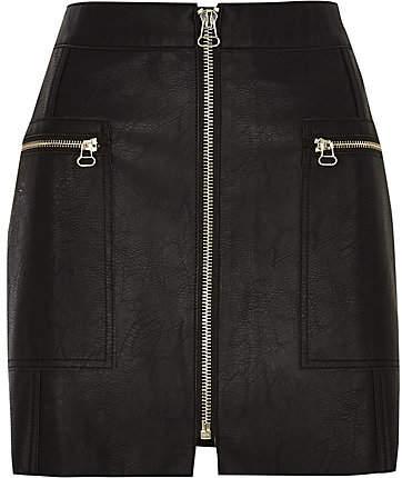 River Island Petite black leather zip front mini skirt