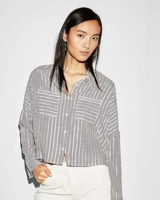 Express Striped Long Sleeve Boxy Shirt