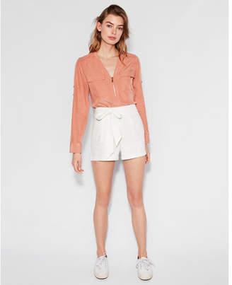 Express long sleeve two pocket zip front shirt