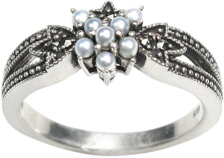 Dahlia Star Gaze Silver Seed Pearl Ring (Size 6 Vintage Collection