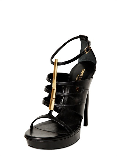 Saint Laurent 130mm Janis Calfskin & Chain Sandals