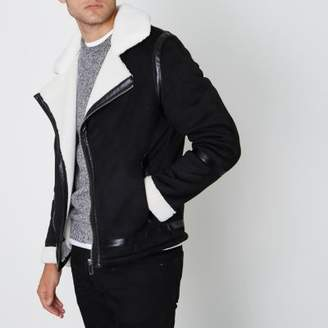 River Island Black faux suede fleece collar biker jacket