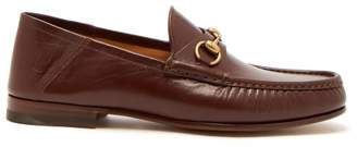 Gucci Easy Roos Collapsible Heel Leather Loafers - Mens - Brown