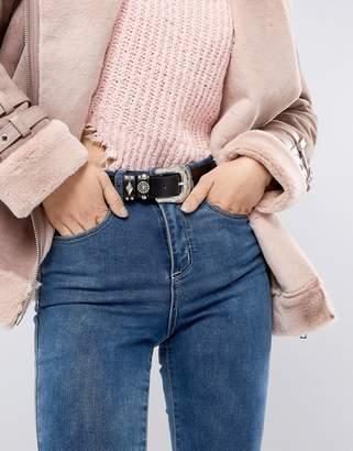 Glamorous Black Western Stud Detail Jeans Belt