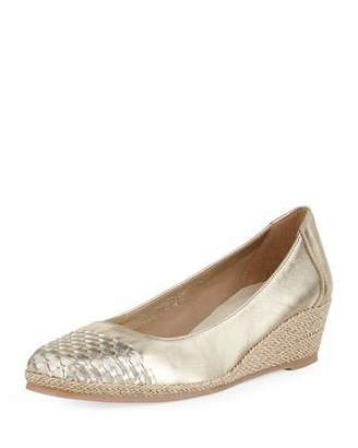 Sesto Meucci Magaly Woven Slip-On Espadrille Pump, Gold $290 thestylecure.com