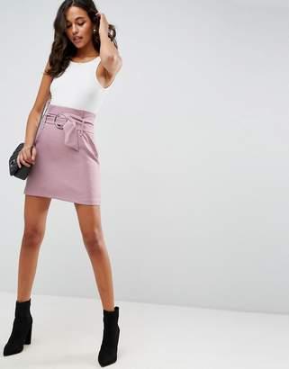 Asos Tailored Mini Skirt With Metal Circle Buckle