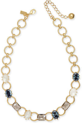 "Kate Spade Gold-Tone Stone & Imitation Pearl Collar Necklace, 16"" + 3"" extender"
