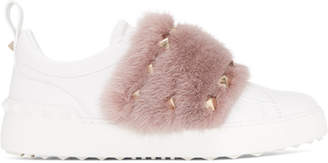 Valentino White and Pink Garavani Mink Open Sneakers