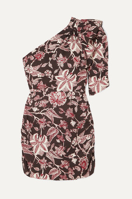 Isabel Marant Lilia One-shoulder Floral-print Cotton Mini Dress - Black