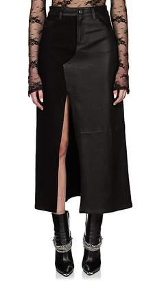Amiri Women's Denim & Leather Long Skirt