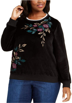 Alfred Dunner Plus Size Bright Idea Embroidered Velour Top