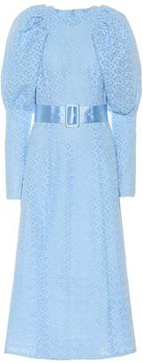 Rotate by Birger Christensen Lace puff-sleeve midi dress