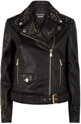 Moschino Leather Star Studded Biker Jacket