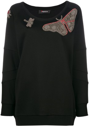 Jo No Fui butterfly embroidered knitted top
