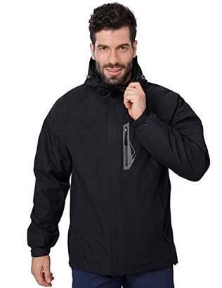 outdoorgo Men's Ski Jacket 3-in-1 with Inner Fleece Jacket Detachable Hood Waterproof Hiking Jacket