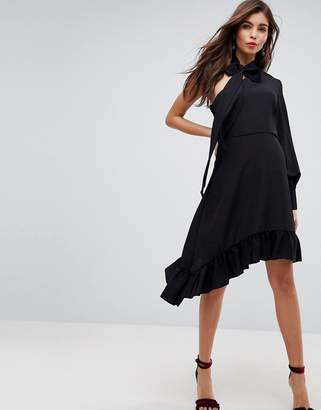 Asos DESIGN One Sleeve Scarf Neck Tie Midi Dress