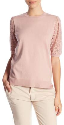 14th & Union Crochet Lace Sleeve Sweater Top