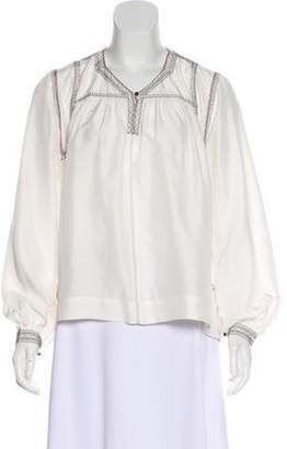 Isabel Marant Embroidered Silk Blouse White Embroidered Silk Blouse