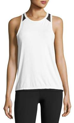 Alala Pace Mesh-Back Tank Top, White/Black