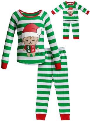 Dollie & Me Girls 4-14 Christmas Top & Bottoms Pajama Set & Matching Doll Pajamas